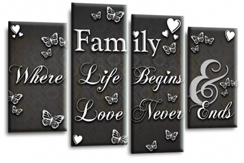 Family Quote Canvas Wall Art Picture Print Grey White